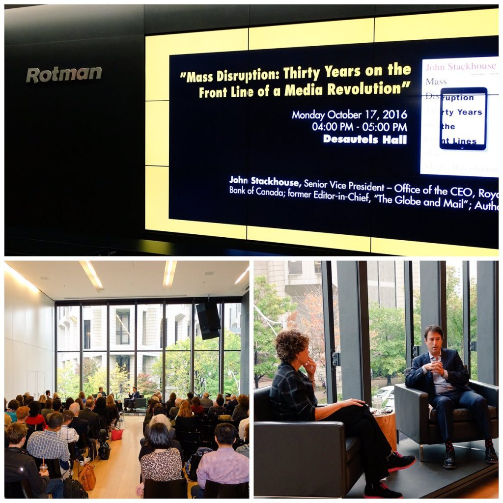 Photo of John Stackhouse speaking about media, via @RotmanEvents